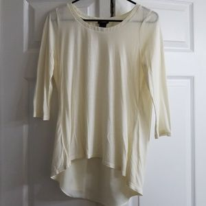 ANN TAYLOR CREAM HIGH low shirt